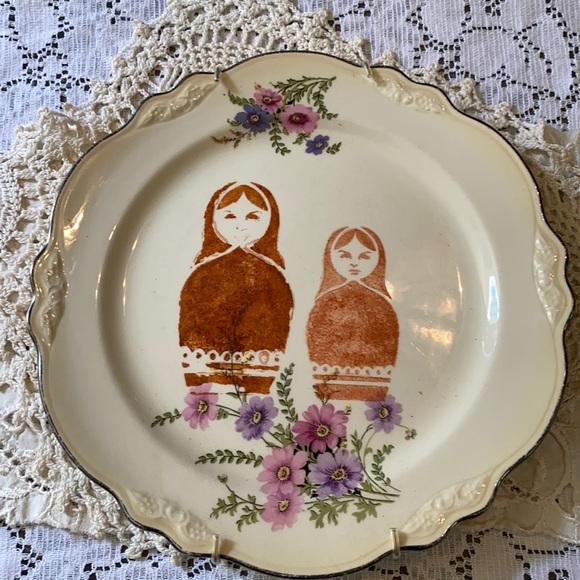 Vintage Floral Plate Matryoshka Dolls Stamped